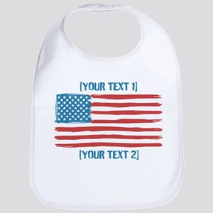 [Your Text] 'Handmade' US Flag Bib